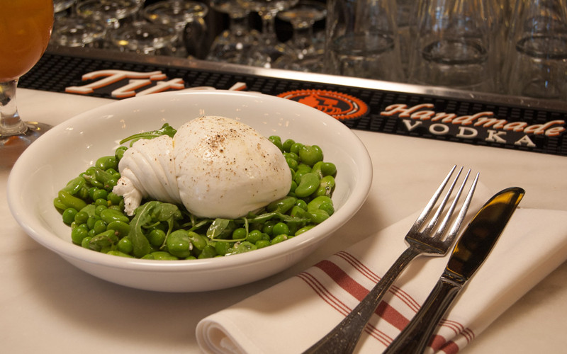Burrata, served on the bar