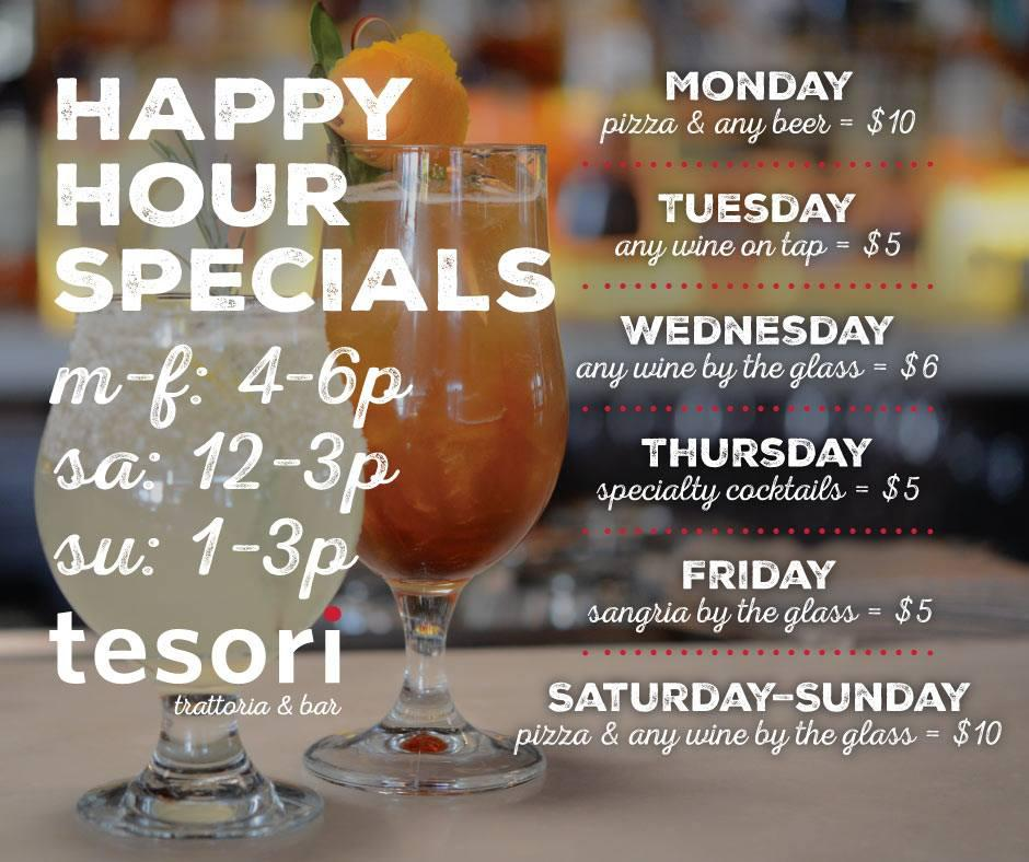 Happy hour specials updated hours tesori for Weekend in chicago packages
