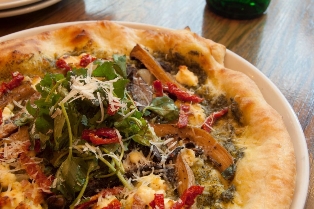Week 4: Roasted Wild Mushrooms cipollini onions, sundried tomato, watercress pesto, house smoked ricotta